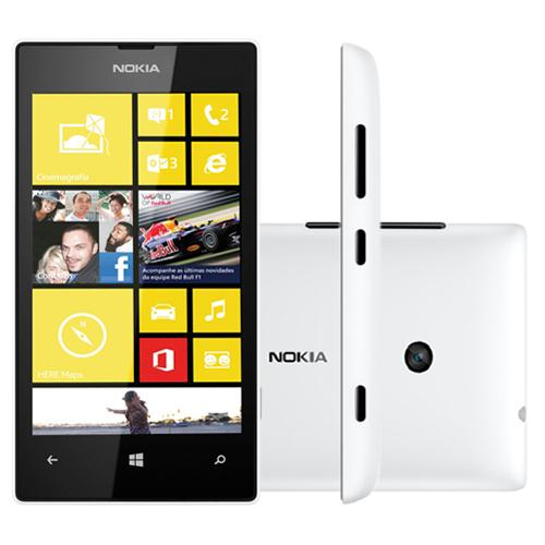 Smartphone NOKIA Lumia 520 branco Windows Phone memória interna 8GB câmera 5MP Dual core 1GHz Ref.:520